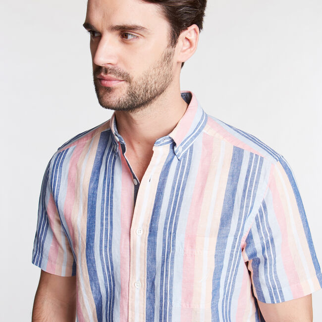 Short Sleeve Classic Fit Shirt in Stripe,Windsurf Blue,large