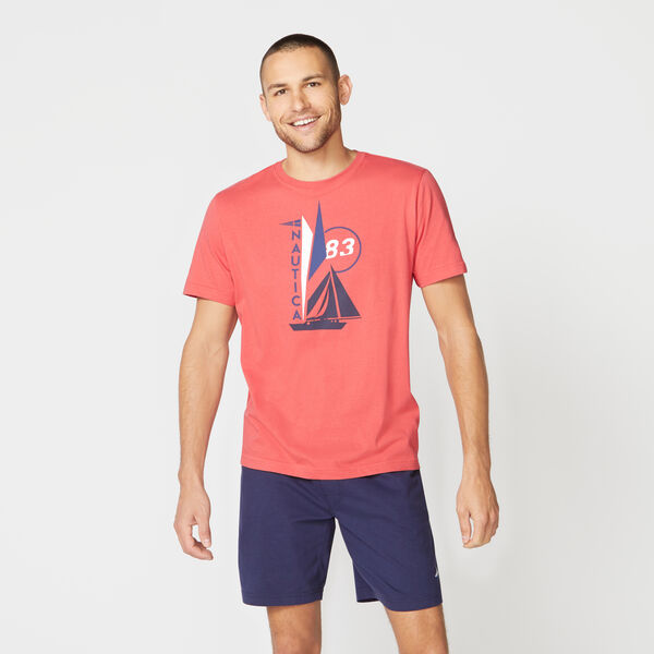SAIL BOAT 83 PRINT SLEEP T-SHIRT - Sailor Red