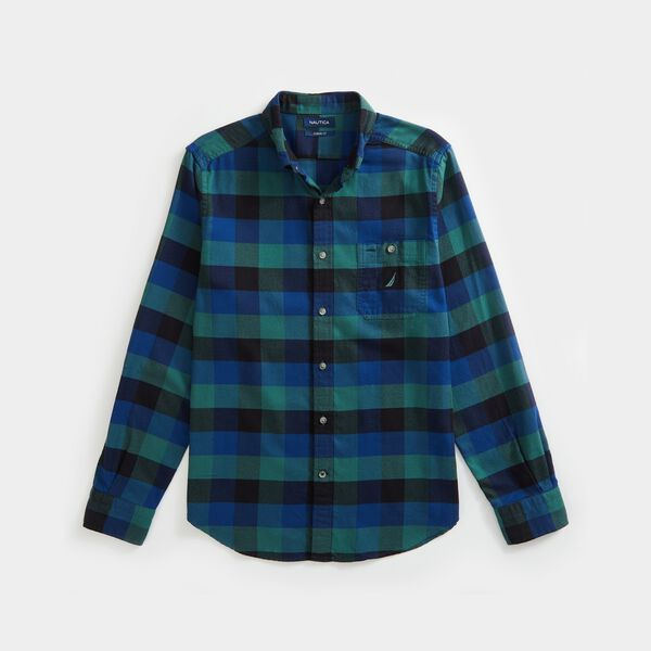 PLAID FLANNEL SHIRT - Vibe Green