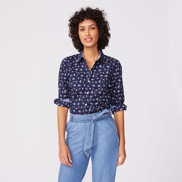 FLORAL PRINT SHIRT - Stellar Blue Heather