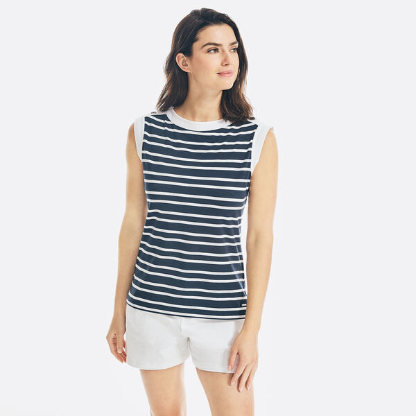 SUSTAINABLY CRAFTED STRIPED SLEEVELESS TOP - Stellar Blue Heather