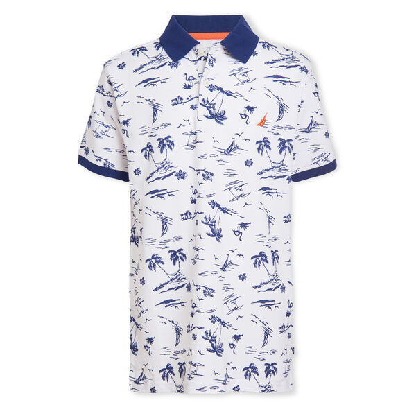 BOYS' WYNWOOD PRINTED POLO (8-20) - Antique White Wash