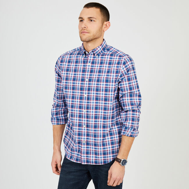 Long Sleeve Plaid Classic Fit Shirt,Ensign Blue,large