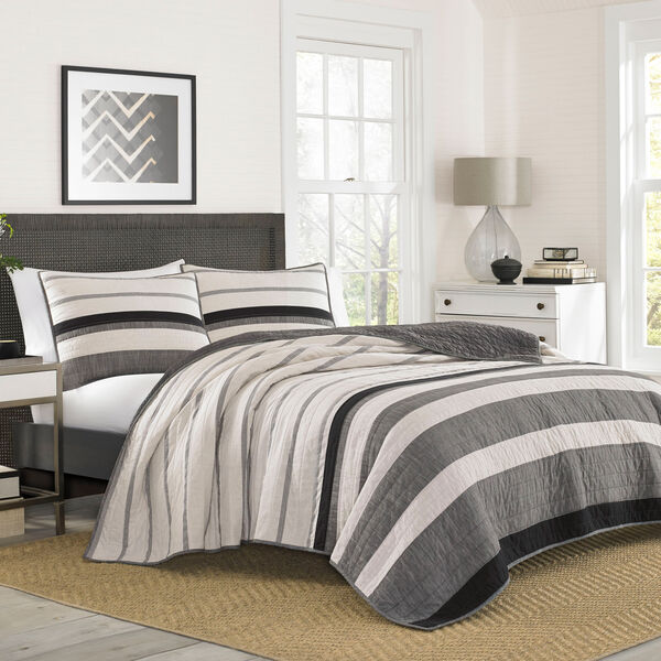 Kelsall King Quilt in Charcoal - Charcoal Heather