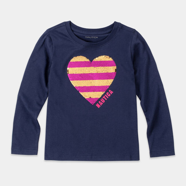 GIRLS' REVERSIBLE SEQUIN GRAPHIC LONG SLEEVE T-SHIRT (8-20),Navy,large