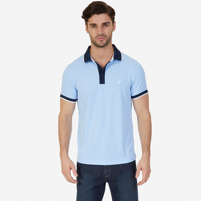 Slim Fit Wicking Polo Shirt,Sea Mist,large