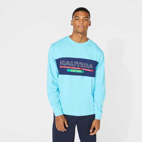 LOGO COLORBLOCK LONG SLEEVE T-SHIRT - Ballard Blue