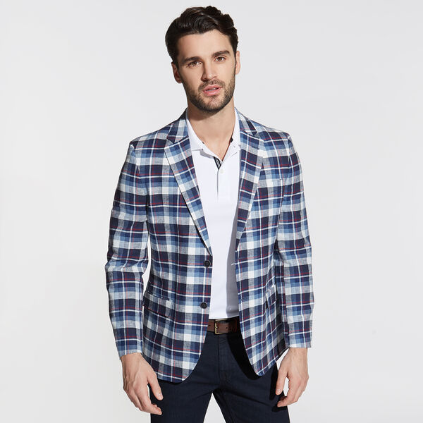 Brielle Linen Blend Jacket in Multicolor Plaid - Workshirt Blue