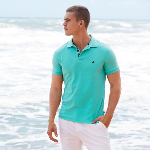 Classic Fit Solid Mesh Polo Shirt - Poolside Aqua