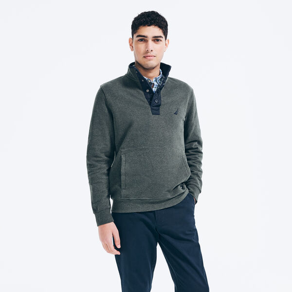 SNAP-BUTTON PULLOVER - Seaweed Heather