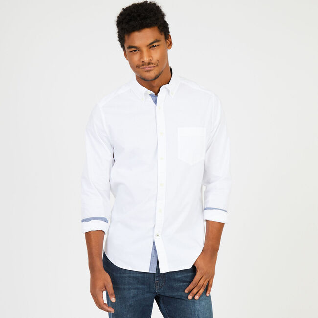 2341fc63 Soft Wash Long Sleeve Classic Fit Shirt,Bright White,large