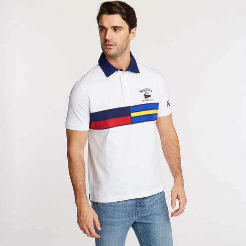 SHORT SLEEVE PIECED CHEST STRIPE POLO IN CLASSIC FIT - Bright White
