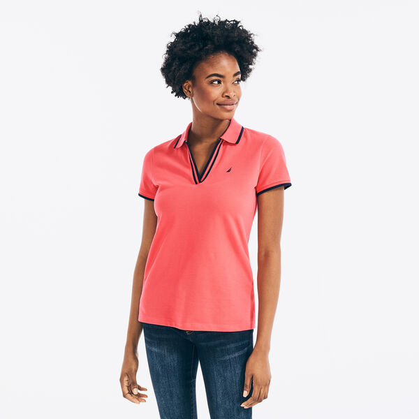SUSTAINABLY CRAFTED CONTRAST-TRIM SPLIT-NECK POLO - Persian Red