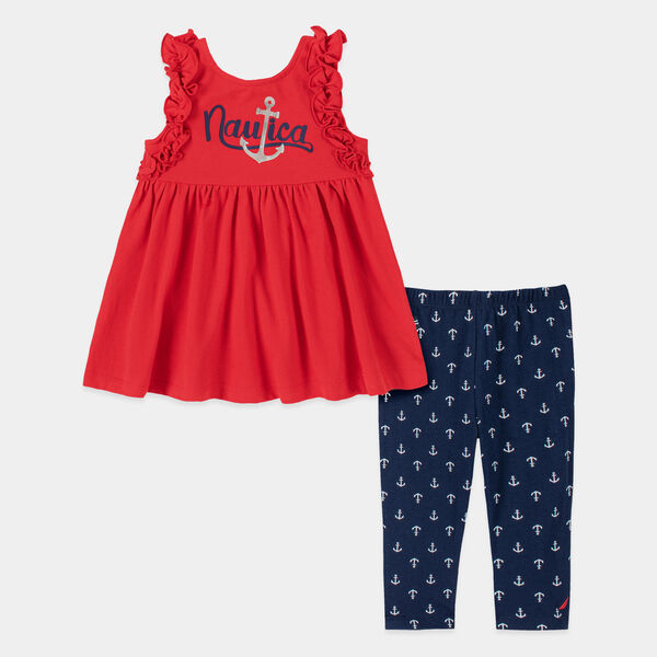TODDLER GIRLS' RUFFLE BABYDOLL ANCHOR PRINT 2PC CAPRI SET (2T-4T) - Deep Sea Red
