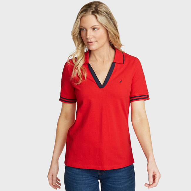 Elbow Sleeve Classic Fit Polo,Tomales Red,large