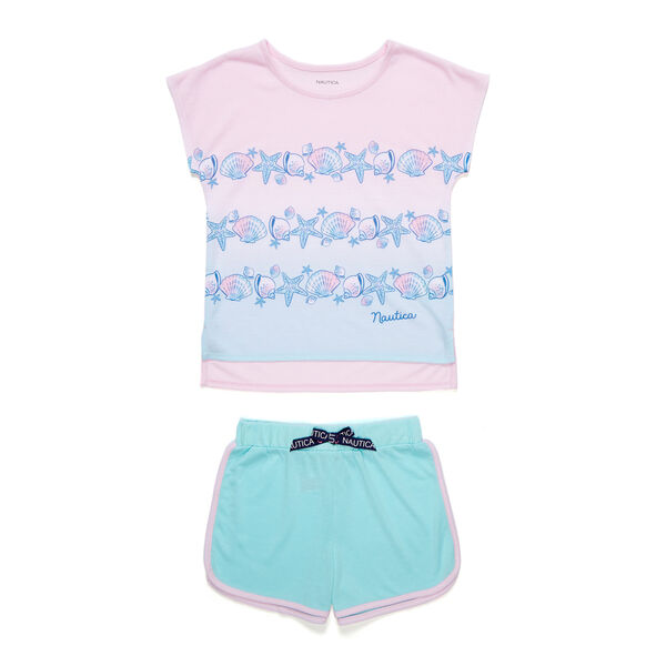 Girls' Seashell Striped PJ Shorts Set (XS-XL)  - Angel Blue