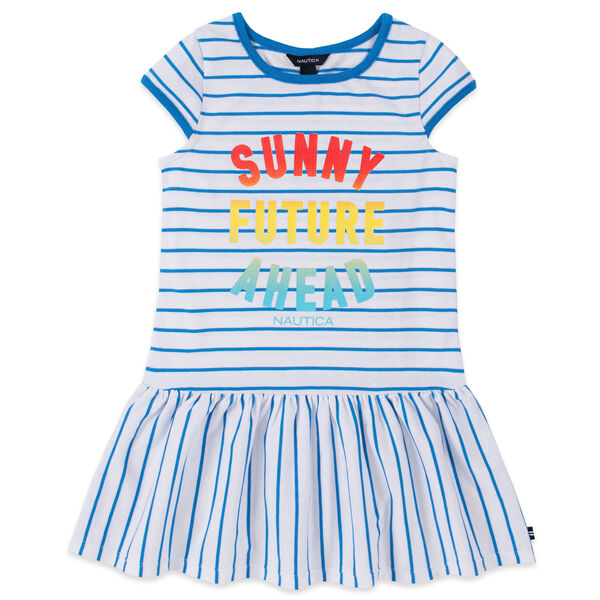 TODDLER GIRLS' STRIPED WAVE CHASER SEQUIN GRAPHIC DRESS (2T-4T) - Surf Water Wash