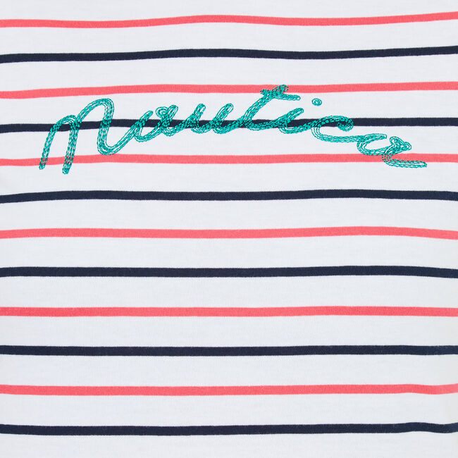 Short Sleeve Striped Graphic T-Shirt,Bright White,large