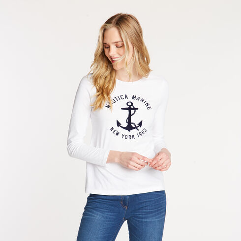 LONG SLEEVE NAUTICA MARITIME CREW NECK TEE - Bright White