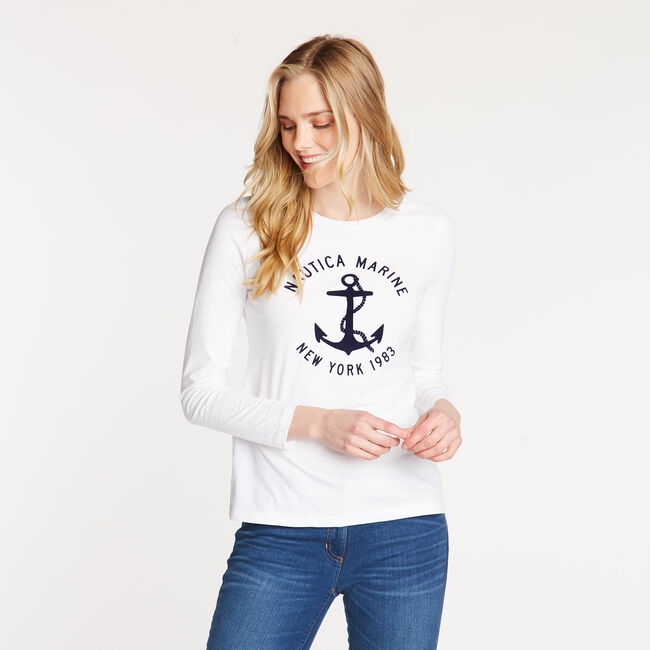 LONG SLEEVE NAUTICA MARITIME CREW NECK TEE,Bright White,large