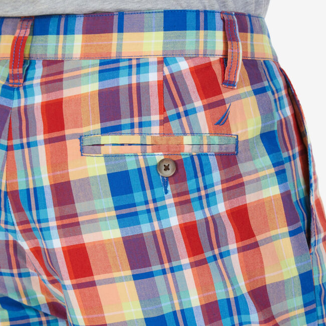 "Classic Fit Plaid Walking Shorts - 8.5"" Inseam,Monaco Blue,large"