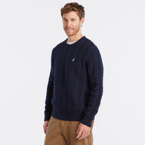 J-CLASS CABLE-KNIT SWEATER - Navy