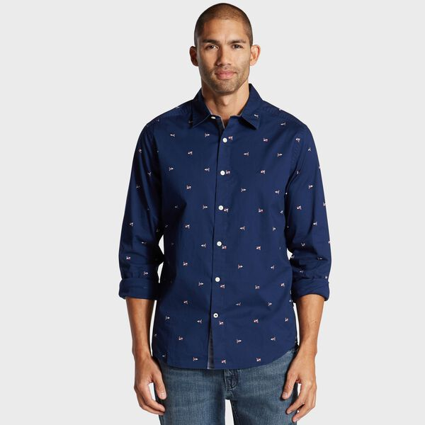 Classic Fit Oxford Shirt in Nautical Icon Print - J Navy