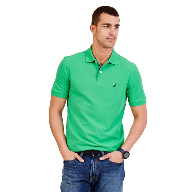 Big & Tall Performance Pique Classic Fit Polo,Army Green,large