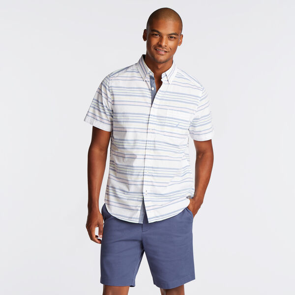 CLASSIC FIT SHORT SLEEVE SHIRT IN MIXED STRIPE - Bright White