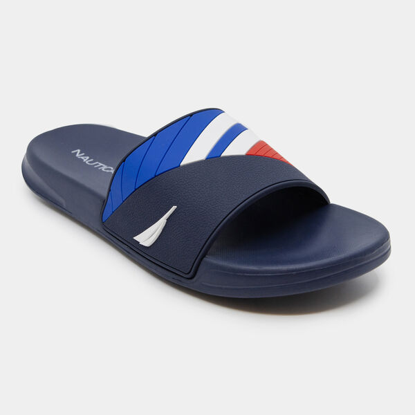 COLORBLOCK LOGO EMBOSSED STRIPE SLIDE SANDALS - Ice Blue