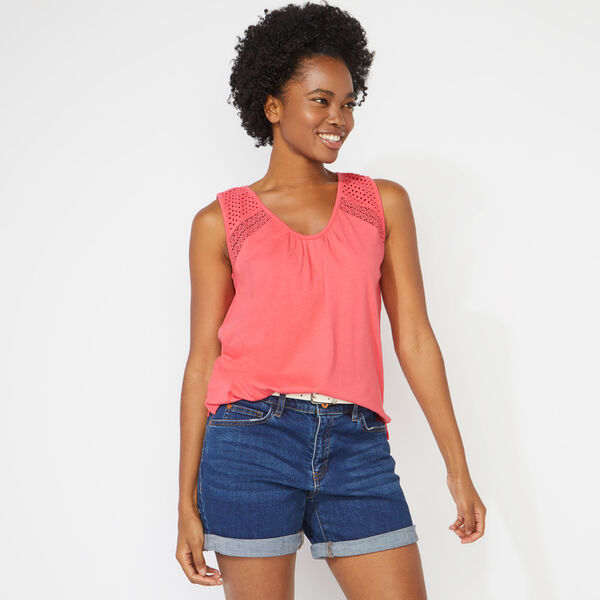 EYELET MIXED MEDIA TANK TOP - Persian Red