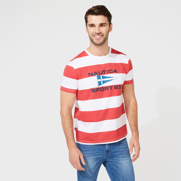 STRIPED GRAPHIC T-SHIRT - Bright White