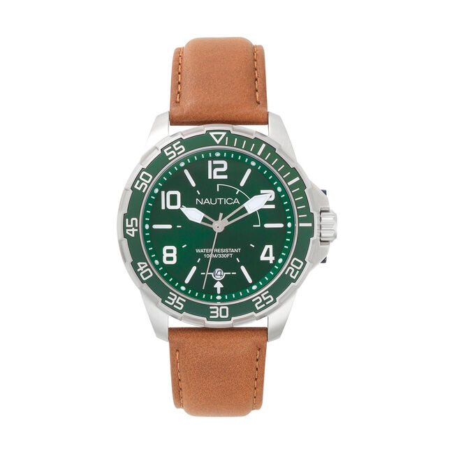 Pilot House Leather Watch - Green Dial,Forest Green,large