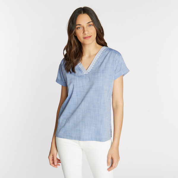 Short Sleeve Embroidered Woven Top - Bayberry Blue