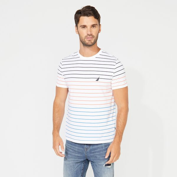 SHORT SLEEVE STRIPE TEE - Bright White