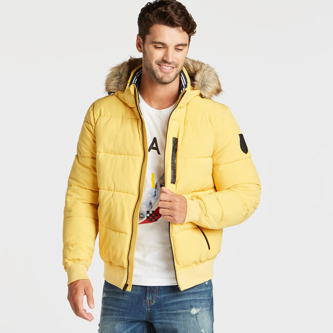 STRETCH BOMBER WITH REMOVABLE HOOD,Gold,large