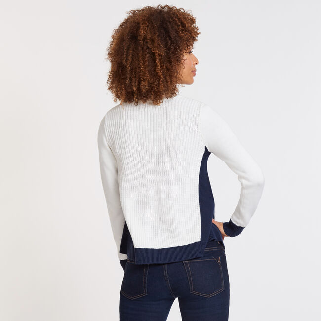 Cable-Knit Flared Crewneck Sweater,Marshmallow,large