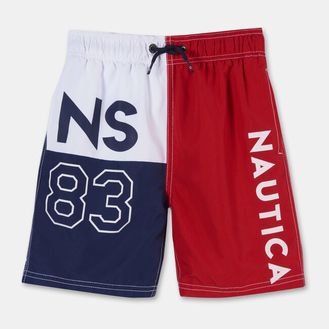 BOYS' COVE NS83 COLORBLOCK SWIM TRUNKS (8-20),Melonberry,large
