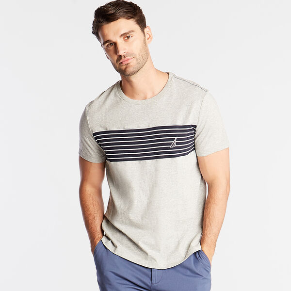 CREWNECK T-SHIRT IN CHEST STRIPE - Grey Heather