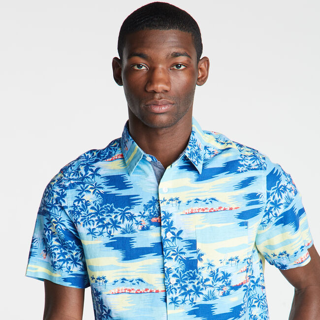 Short Sleeve Classic Fit Shirt in Print,Harbor Mist,large