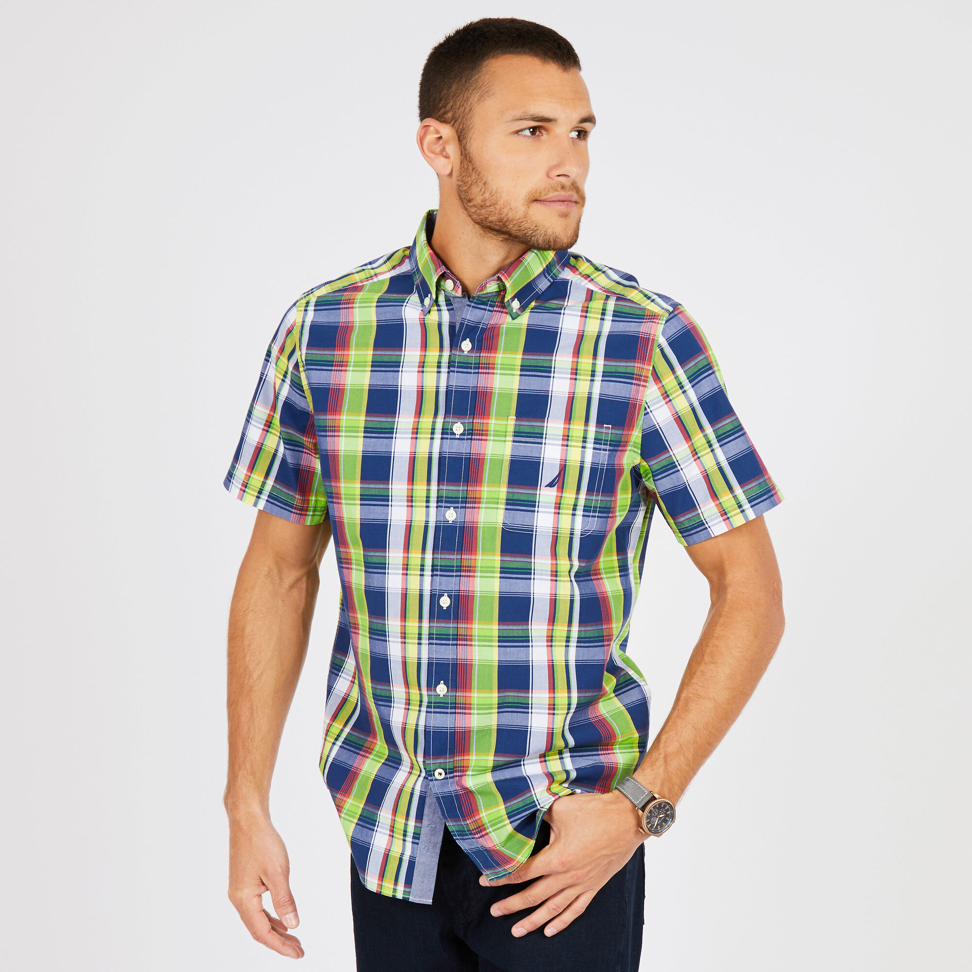 72f2807e Nautica Mens Big & Tall Plaid Classic Fit Short Sleeve Shirt | eBay