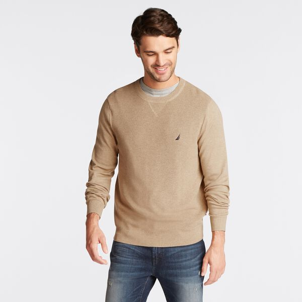 NAVTECH RIBBED FRONT SWEATER - Camel Heather