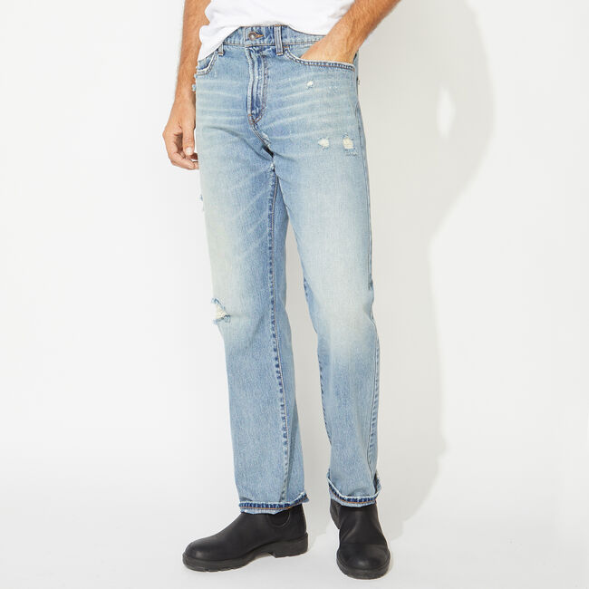NAUTICA JEANS CO. ORIGINAL RELAXED FIT DENIM IN DISTRESSED BLUE,Distressed Blue Wash,large