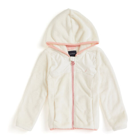 Little Girls' Micro Fleece Nautex Full-Zip Hoodie (4-6X) - Bright White