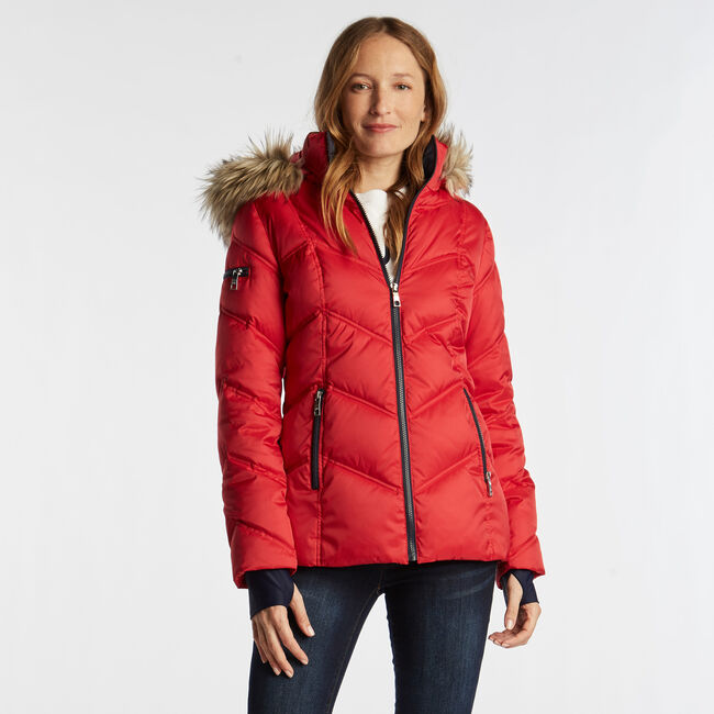 QUILTED PUFFER COAT,Tomales Red,large