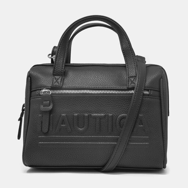 LOGO-EMBOSSED PEBBLED SATCHEL - True Black