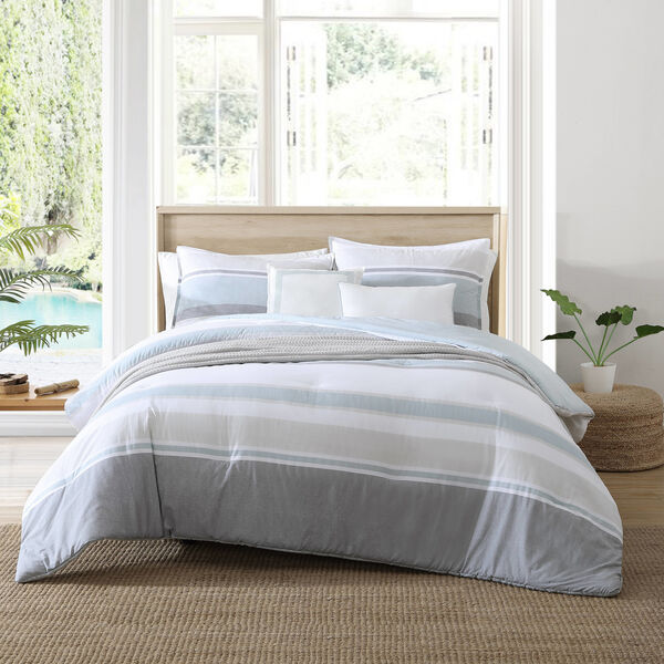 REVERSIBLE TEXTURED STRIPE-PRINT TWIN/TWIN XL COMFORTER-SHAM BONUS SET - Multi