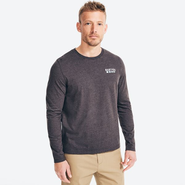 SUSTAINABLY CRAFTED GRAPHIC LONG SLEEVE T-SHIRT - Charcoal Heather