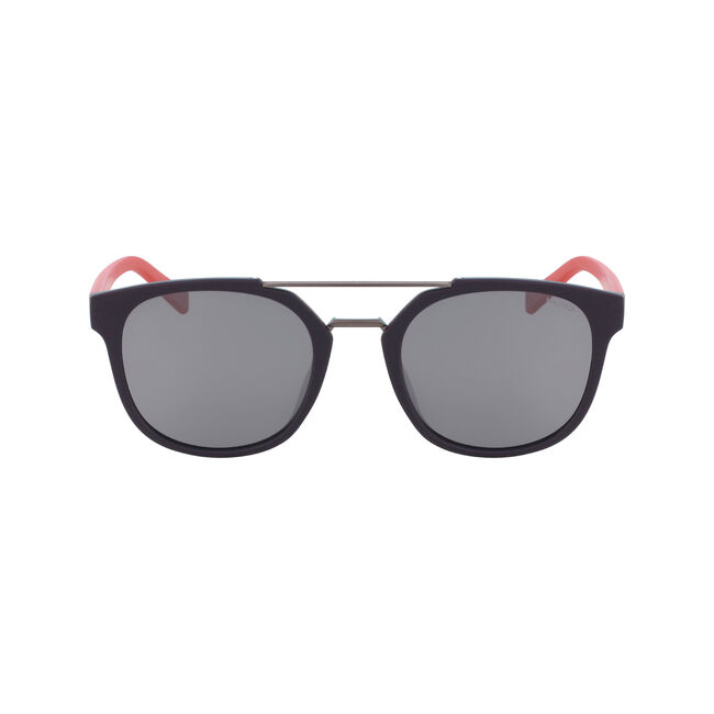 Round Sunglasses with Brow Bar,Navy,large