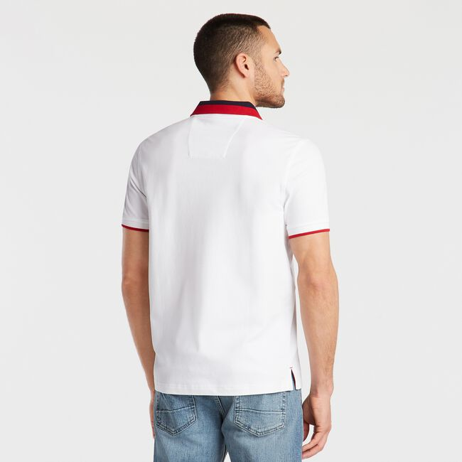 SLIM FIT TIPPED POLO,Bright White,large